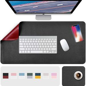 """31.5"""" x 15.7"""" + 8""""x11"""" Leather Desk Pad 2 Pack, Black__Red"""